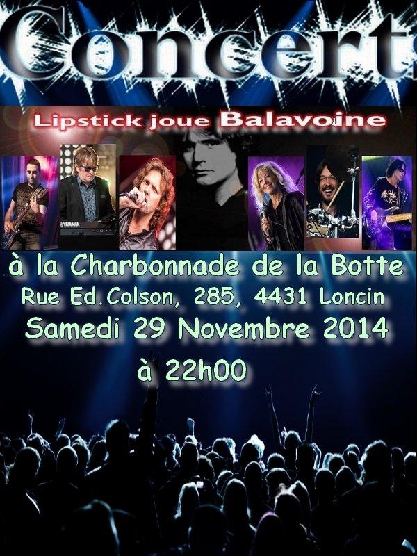 Lipstick Joue Balavoine de retour à La Charbonnade de la Botte ce 29 Novembre 2014