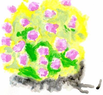 buisson fleurie aquarelle [ MOCHE ]