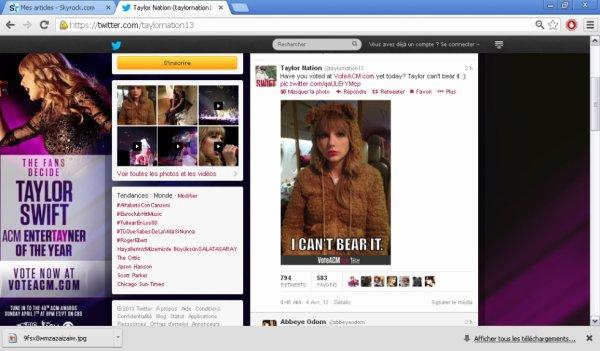 04.04.13:Capture de la photo du twitter officiel de son site