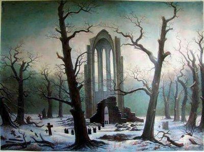Cimeti re de monastere dans la neige peintures et chef d for Auteur romantique