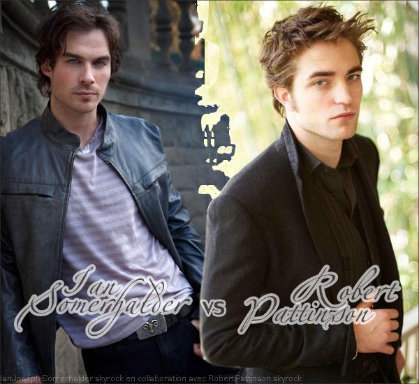 """. LE RÈGNE D'EDWARD CULLEN TOUCHERAIT-IL A SA FIN ?  .  Depuis la sortie de Twilight, le monde s'est découvert un engouement innatendu pour les vampires et en l'occurence le beau vampire végétarien Edward Cullen (Robert Pattinson). Depuis près de 2 ans, les fans vouent une admiration sans faille au vampire de leur rêve. Mais le reigne d'Edward Cullen est-il en péril ? Depuis septembre 2009, la CW diffuse la nouvelle série The Vampire Diaries qui fait un énorme carton et à notamment remporté 7 awards aux Teen Choice Awards ! Les filles craquent désormais pour le """"mauvais vampire"""" qui déchaine les passions Damon Salvatore"""" (Ian Somerhalder). Les fans sont envoutés par le charme de ces deux vampires si différent, et déja Damon récolte autant d'attention de notre cher Edward, et tout comme pour Robert, les fans sont près a camper pendant des heures pour apercevoir Ian. Les fans prennent position et désormais ce n'est plus choisir entre Team Edward & Team Jacob qu'il faut choisir mais entre Team Edward et Team Damon. Alors à votre avis, les jours d'Edward Cullen sont-ils en danger ? Damon Salvatore est-il le nouveau chouchou de ces dames ? Ian volerait-il la vedette à Robert ?   .  ALORS PLUTOT EDWARD / ROBERT OU DAMON / IAN ? .   Article fait en collaboration avec RobertPattinson.skyrock.com le meilleur blog source sur Robert."""