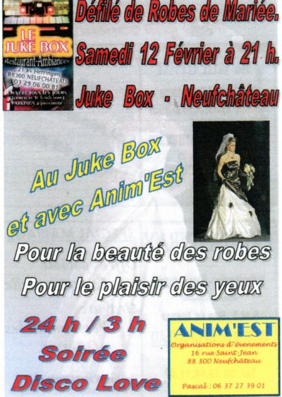 Défilé de robes de Mariée samedi 12 févr.-11 au Juke Box à Nefchâteau