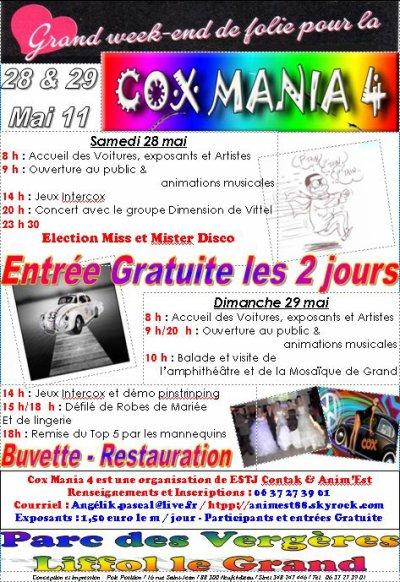 Cox Mania 4 une ambiance baba cool du jamais vu… Voilà donc le programme officiel de Cox Mania 4