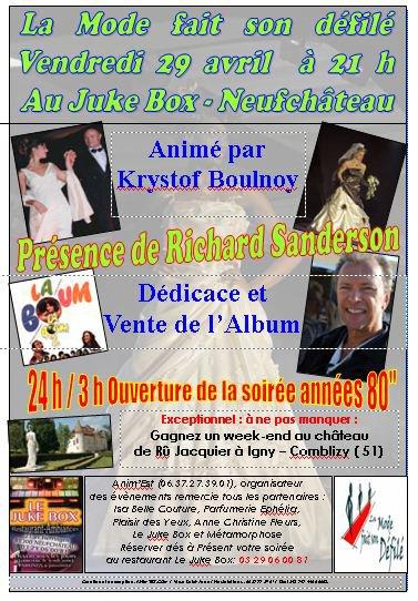 Soirée exceptionnelle à Neufchâteau avec la présence de Richard Sanderson le 29 avril 2011 au Juke Box