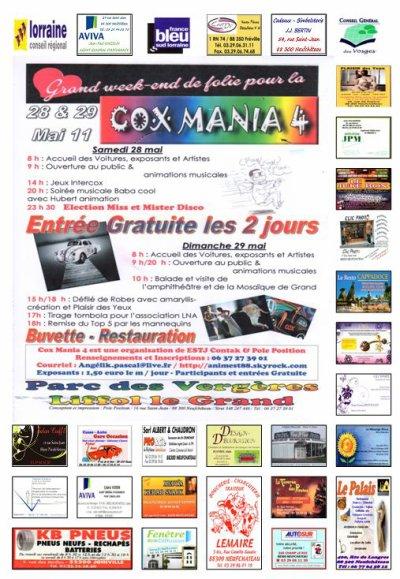 L'affiche finale de Cox Mania imprimé demain et diffusée.