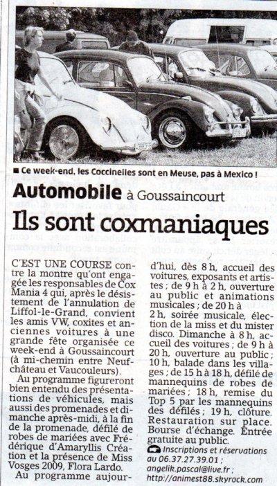 Cox Mania 4, Est Républicain édition de la Meuse en parlait