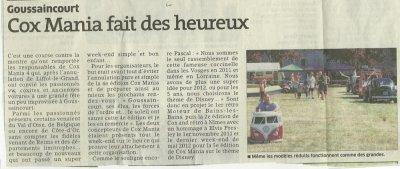 Avec un peu de retard l'article paru dans l'Est Républicain Meuse pour Cox Mania 4