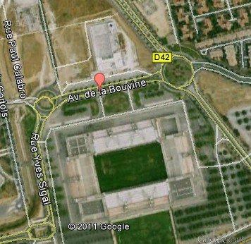 Plan de localisation du Stade des Costières de Nimes