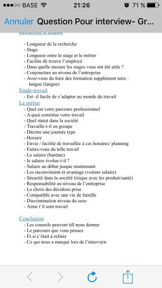 LES QUESTIONS DE L'INTERVIEW