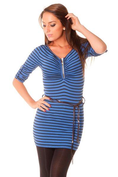 Tunique femme, rayé avec fermeture et ceinture. Vêtement pas cher