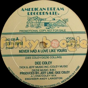 Dee Coley - Never Had A Love Like Yours (Vocal)