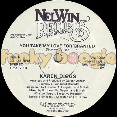 Karen Diggs - You Take My Love For Granted