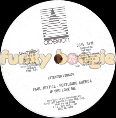 Paul Justice Feat. Rhenda - If You Love Me (Extended Version)