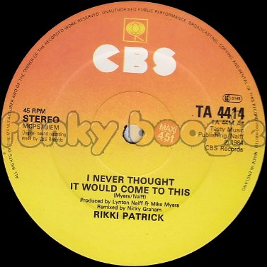 Rikki Patrick - I Never Thought It Would Come To This