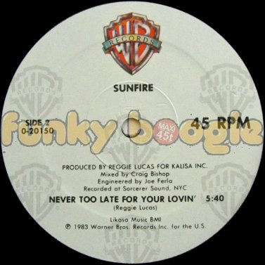 Sunfire - Never Too Late For Your Lovin'