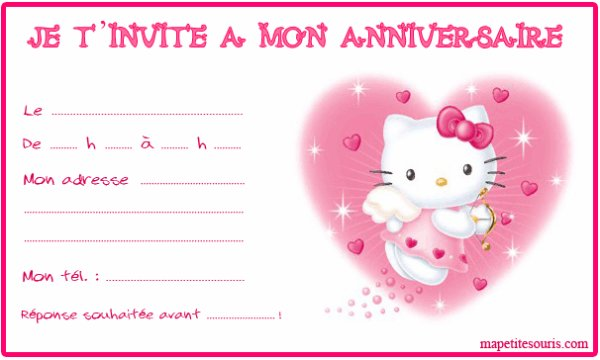 hello kitty invitation anniversaire
