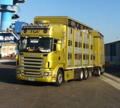 Scania betaillere charge ki attendre pour decharger au port de sète