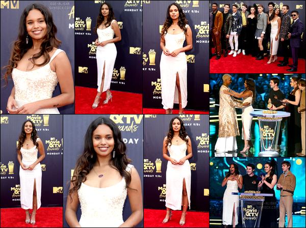 """- """"•.16/06/18."""" ▬ Notre Alisha Boe à assistée au « MTV Movie And TV Awards » au Barker Hangar, à Santa Monica, CA. Elle portait une sublime robe. J'adore ses cheveux. Alisha était vraiment sublimissime. Le reste du cast de """"13 Reasons Why"""" était également présent. -"""