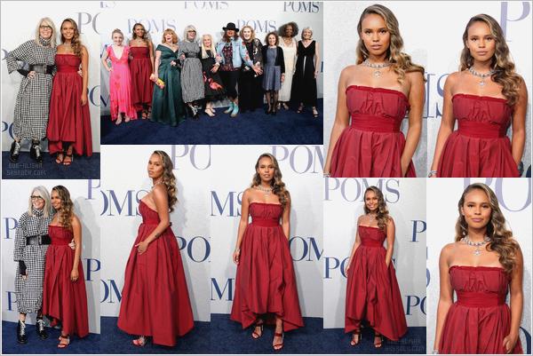 """- """"•.01/05/19."""" ▬ Alisha Boe était présente à l'avant première du film « POMS », au Regal LA Live, à Los Angeles, Californie. Alisha était sublimissime ! Elle portait une magnifique robe bordeaux, qui lui allait vraiment bien ! C'est un top ! (+) Voici la bande d'annonce VF du film. -"""