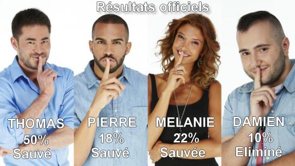 RÉSULTATS OFFICIELS des 1ères Nominations : Thomas / Pierre / Mélanie / Damien