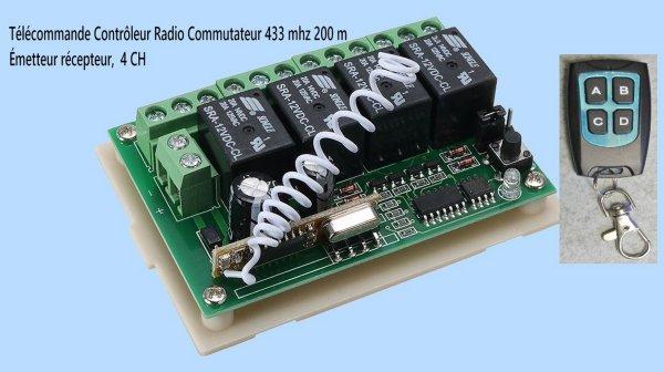 Mon réseau -  Télécommande contrôleur radio commutateur 4 relais, Émetteur récepteur (3).