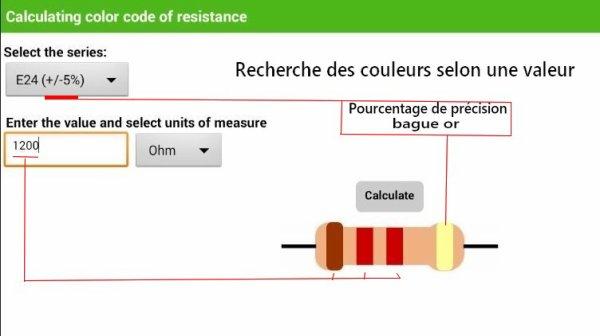 Mes activités - Calculs des résistances pour diodes leds sur les applications Android(5/9)
