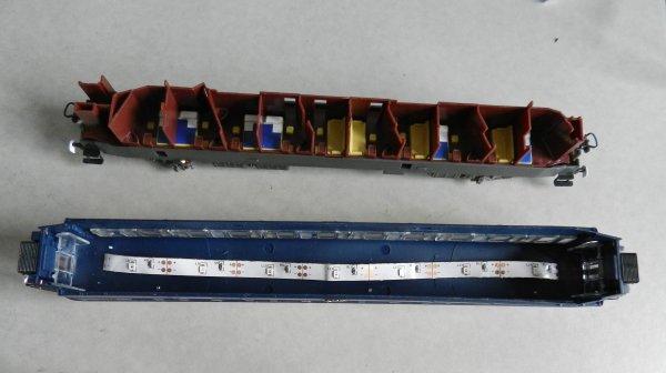 Mes activités - Le ruban Led autocollant et l'éclairage d'un wagon (8/9).