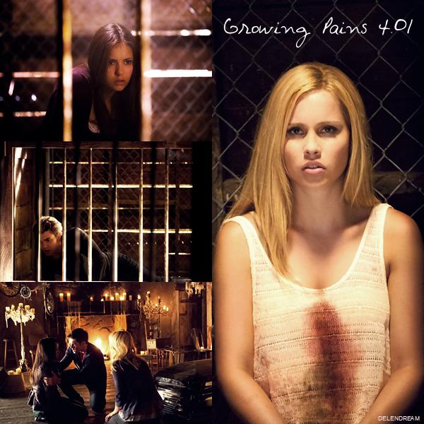 Stills Saison 4 : Episode 1:Elena se réveille en sursaut, Stefan est auprès d'elle et lui explique ce qu'il lui est arrivé. Elle commence à se rappeler et demande des nouvelles de Matt, mais Damon intervient, semblant en vouloir à Stefan d'avoir sauver Matt. Damon annonce à Elena que Stefan ne l'a pas sauvé… Stefan lui explique qu'elle a reçu du sang de vampire avant l'accident … Elena comprend alors ce qu'elle va devenir. Stefan lui annonce que Bonnie va tenter de trouver une solution mais Damon lui affirme que la seule solution est qu'elle se nourrisse pour accomplir la transition… Elena leur annonce qu'elle était prête prête à mourir mais sûrement pas de devenir un vampire. Puis elle choisit l'option Bonnie mais Damon est convaincu que c'est impossible. Elena commence à ressentir les effets de la transformations lorsque Jeremy intervient et il lui explique comment ça s'est passé avec Vickie puis il lui annonce que Bonnie va parler aux anciennes sorcières. Klaus/Tyler retrouve Bonnie dans la tombe et lui demande de le renvoyer dans le corps de Klaus car Alaric a dénoncé Caroline et Tyler au conseil et qu'il se sent vulnérable mais Bonnie souhaite d'abord aider Elena, ce qui rend furieux Klaus/Tyler. Mais elle finit par le convaincre, lui indiquant que si Elena redevient humaine il pourra recréer des hybrides. Le pasteur Young retrouve Meredith à l'hôpital, lui indiquant qu'il va prendre des mesures pour éviter le vol du sang et qu'il est chargé de sécuriser la ville sous les ordres du conseil. Caroline annonce à Matt qu'elle doit se cacher vu que le conseil la recherche et que Tyler est mort, alors que Matt s'en veut d'être en vie à la place d'Elena. Le pasteur Young et ses hommes arrêtent Caroline Lockwood pour la questionner sur Tyler puis il arrête le shérif, la retirant de ses fonctions. Caroline est sur le point de quitter la ville lorsqu'elle se fait surprendre par des hommes de main du pasteur… Elena explique à Stefan qu'il a fait le bon choix en sauvant Ma