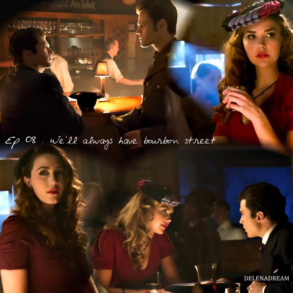 Saison 4 Episode 8 : Damon se réveille en compagnie d'Elena alors que Caroline est sûre de sa théorie sur le fait qu'Elena est liée à Damon, mais Stefan n'en est pas convaincu. Haylay et Tyler tentent de libérer un nouvel hybride de l'emprise de Klaus. Elena demande à Damon ce qu'ils vont faire par rapport à Stefan, Damon la supplie lui laisser un seul jour sans rien dire afin d'apprécier le moment. Quand Elena s'en va, Stefan arrive. Une fois Elena parti, Stefan annonce à Damon qu'Elena est peut-être liée à lui car il est son créateur. Stefan demande alors à Damon de dire à Elena de boire une poche de sang pour voir si elle parvient à l'assimiler… Damon accepte mais ne croit pas du tout à la théorie. Elena retrouve Caroline et Bonnie au lycée, elles souhaitent passer la soirée ensemble. Damon arrive au lycée et propose à Elena de boire la poche de sang, elle s'exécute alors et apprécie le sang avec plaisir. Hayley retrouve Shane et lui dit qu'elle n'a que 11 hybrides, elle ne veut pas impliquer Tyler. Shane lui demande les 12 hybrides en échange d'informations sur ses parents biologiques. Caroline indique que le lien entre les hybrides et Klaus existe car ils sont reconnaissant de ne plus avoir de douleur lors des transformations pendant la pleine lune mais elle ne connaît pas la raison pour Elena. Stefan retrouve Damon, il a compris qu'Elena est liée à lui et il fait des recherches dans ses archives. Flashback : Nouvelle-Orléans en 1942, Damon est avec une dénommée Charlotte qu'il a transformé en vampire, lors d'une soirée, elle tue un homme car il a touché au verre de Damon alors que Damon lui avait juste demandé de surveiller son verre… Damon avait alors compris qu'elle était liée à lui et il est allé voir une sorcière du nom de Valérie Lamarche pour briser le lien. Damon et Stefan partent alors pour la Nouvelle-Orléans afin de retrouver la sorcière en question. Elena et les filles font leur soirée chez les Salvatore, Elena leur annonce qu'elle peut désormais bo