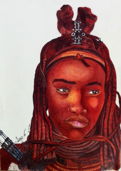 "Femme Himba  ""stylo bic couleur"""