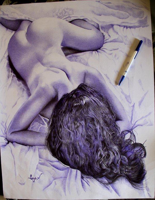Chagrin d'amour- réalisé au bic reynolds bleu format 50x65 cm, un petit essai 3D
