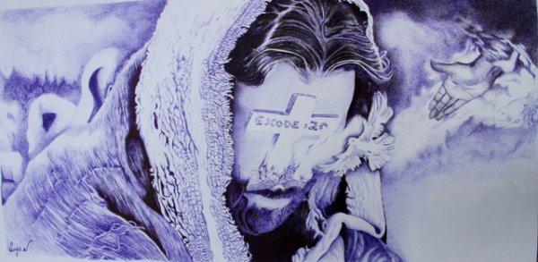 """Exode - 20  *** stylo bille           Jésus reçoit le saint esprit de Dieu Ici je représente le Christ sans visage car dans"""" exode 20"""" il est dit: Tu n'auras pas d'autres dieux devant ma face.  20.4 Tu ne te feras point d'image taillée, ni de représentation quelconque des choses qui sont en haut dans les cieux, qui sont en bas sur la terre, et qui sont dans les eaux plus bas que la terre.  20.5 Tu ne te prosterneras point devant elles, et tu ne les serviras point; car moi, l'Éternel, ton Dieu, je suis un Dieu jaloux, qui punis l'iniquité des pères sur les enfants jusqu'à la troisième et la quatrième génération de ceux qui me haïssent,  20.6 et qui fais miséricorde jusqu'en mille générations à ceux qui m'aiment et qui gardent mes commandements."""