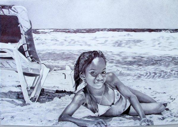 Sur le sable... dessin réalisé au bic cristal noir sur papier canson 100x70 cm, d'après une photo de ma fille prise sur la plage de Cuba.