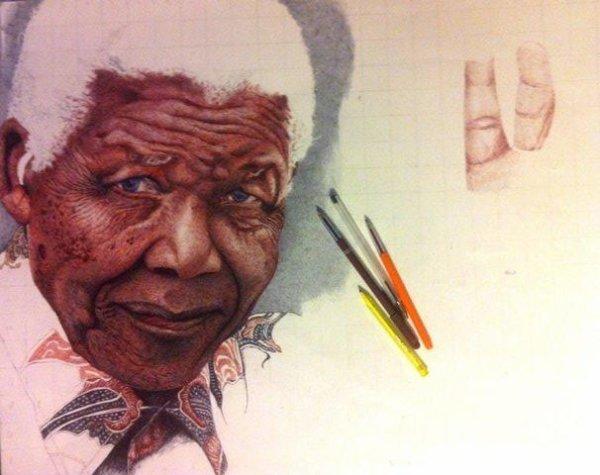 Nelson MANDELA  en cours au stylo bille couleur 50x60 cm