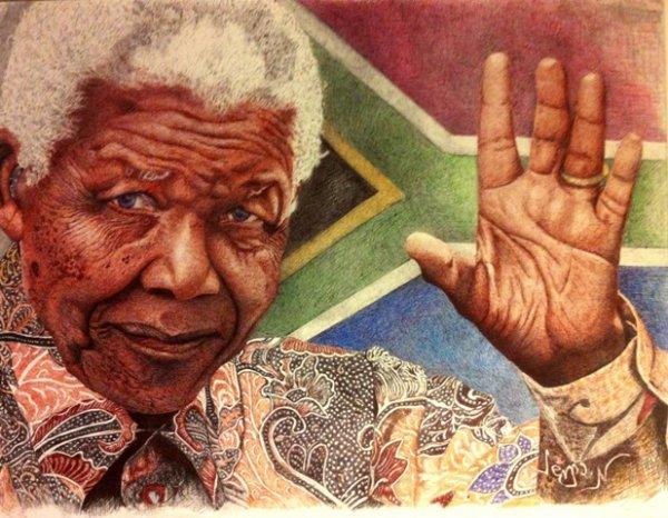Hommage à Monsieur Mandela au stylo bille (format 50x60cm)