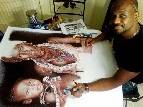 frère et soeur Himba au stylo bille couleur, bientôt la fin