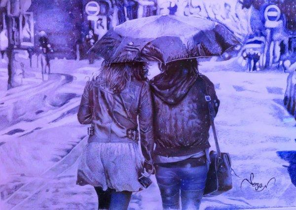 Sous la pluie au stylo bille