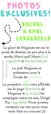 - 12.03.11. ---› De nouvelles photos de Rachel arrivant à Paris! -  15.03.11. ---› Rachel et Karl Lagerfeld sur le tournage de la pub pour Magnum. -  17.03.11. ---› Rachel et son coussin de retour au Bercail!  ;) -