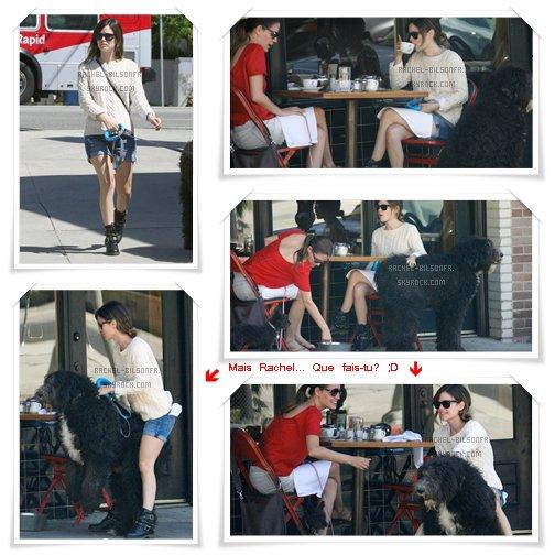 --- 15.04.11. ---› Rachel et son cabot favori déjeunent avec une ami à Los Feliz, Californie.  ;) -