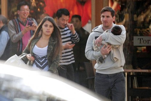 Messi avec sa femme et son fils