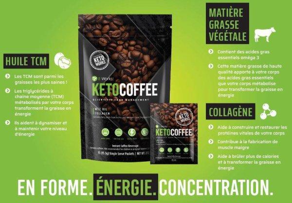 Ce café booste votre énergie et recharge vos batteries pour rester en forme toute la journée !  - Contient des acides gras essentiels venant du beurre issu de pâturages et des triglycérides à chaîne moyenne (TCM)  - Contient des acides aminés essentiels et des peptides de collagène  - Contient du calcium qui contribue à un métabolisme énergétique normal  - Booste et maintient votre niveau d'énergie  - Recharge votre corps et votre esprit en énergie  - Procure une énergie instantanée et favorise la concentration, le tout dans des sachets individuels nomades  - Soutient les résultats de votre régime cétogène, faible en glucides