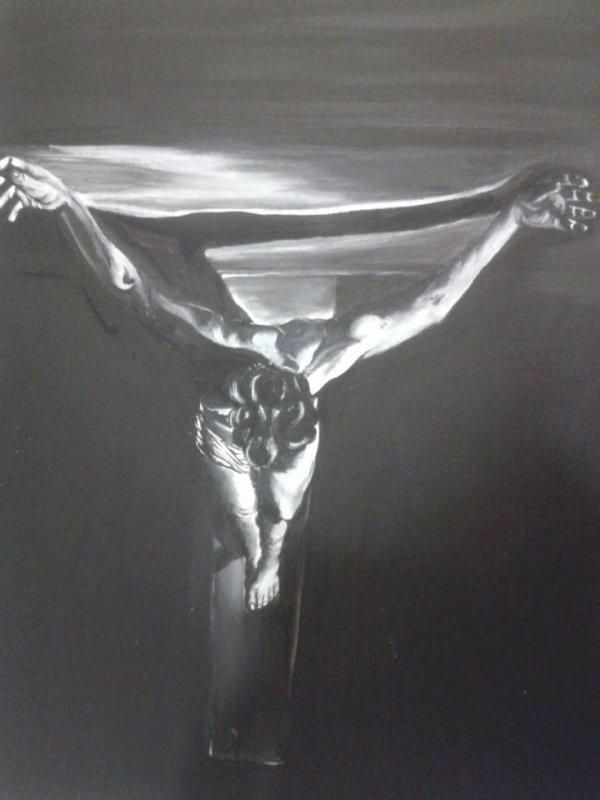 Dali - Le christ de st Jean de la Croix, revu en noir et blanc