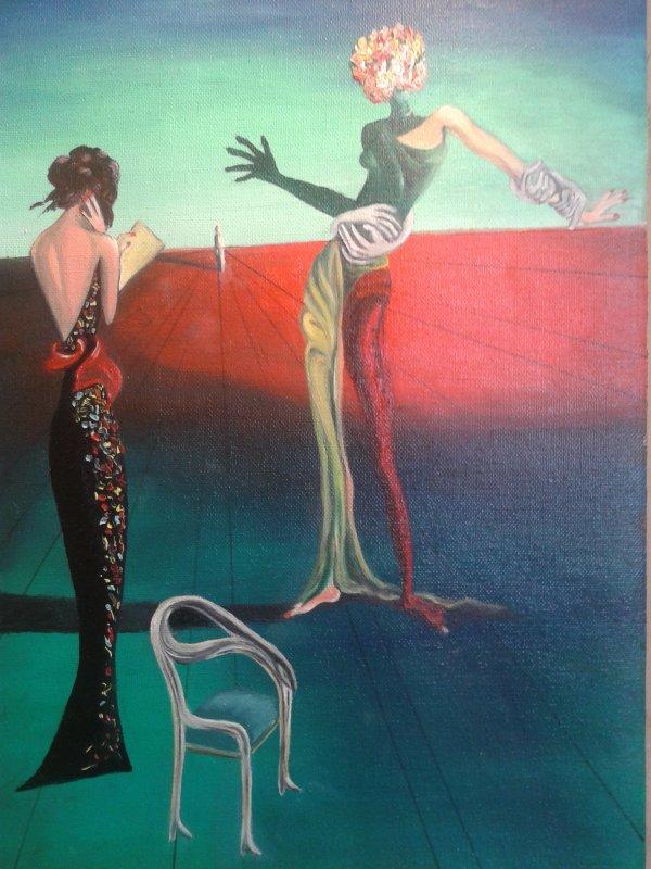 """Huile, reproduction de """"La femme à tête de rose"""" de Dali"""