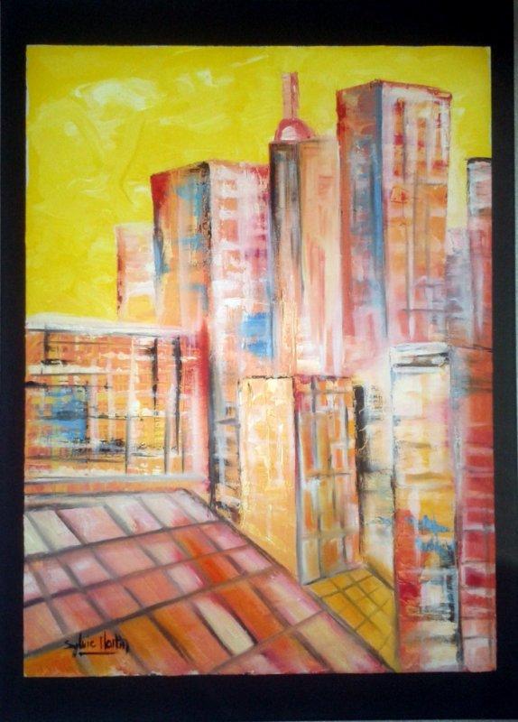 The City, huile au couteau, 50 X 70
