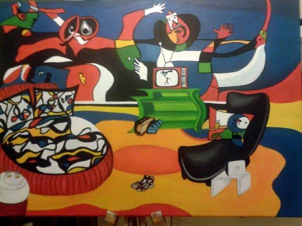 *Reproduction d'un Miro, Acrylique sur toile 50 X 70