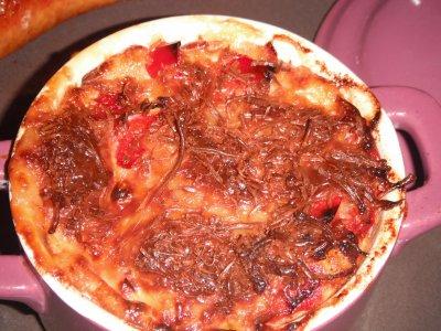 Gratin de pommes de terre aux poivrons et chrorizo