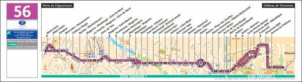 ligne 56 Porte de Clignancourt ↔ Château de Vincennes