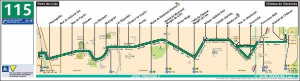Ligne  115  Porte des Lilas ↔ Château de Vincennes