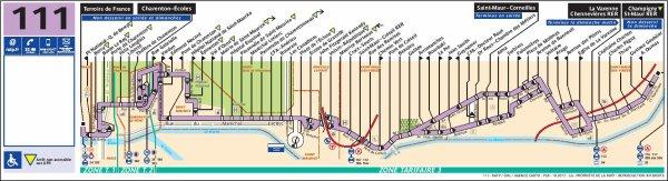 Ligne 111  Terroirs de France ↔ Champigny Saint-Maur RER (La Varenne - Chennevières RER du lundi au samedi à partir de 20 h 30 et le dimanche toute la journée)
