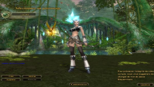 Une image de mon personnage sur un jeux Perfect world